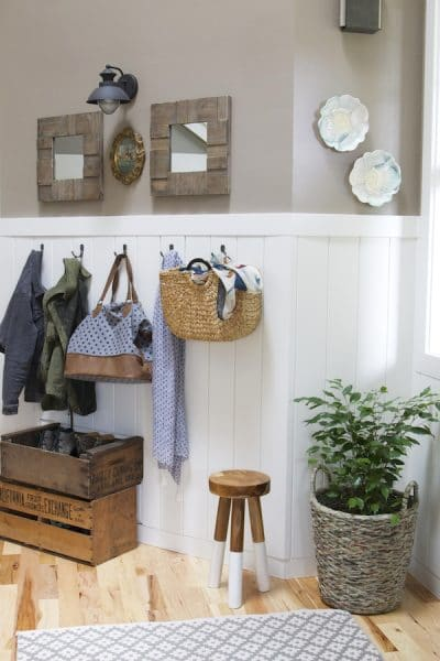 The Inspired Room Entryway - Shiplap Paneling and Entry Wall Hooks