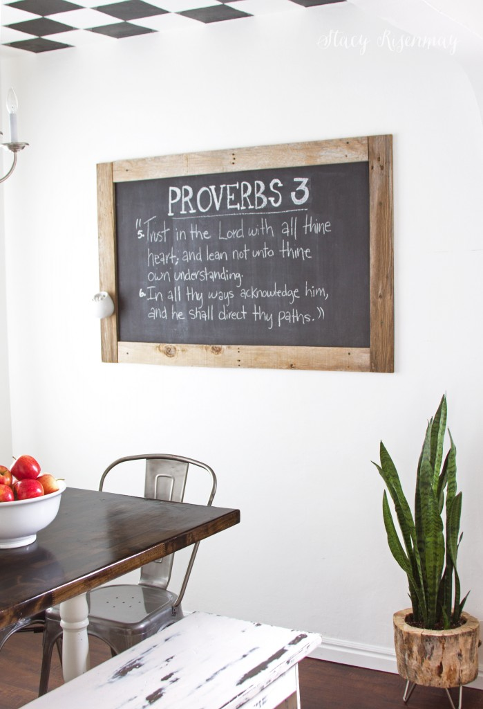 Dining Room with Framed Chalkboard - Not Just A Housewife