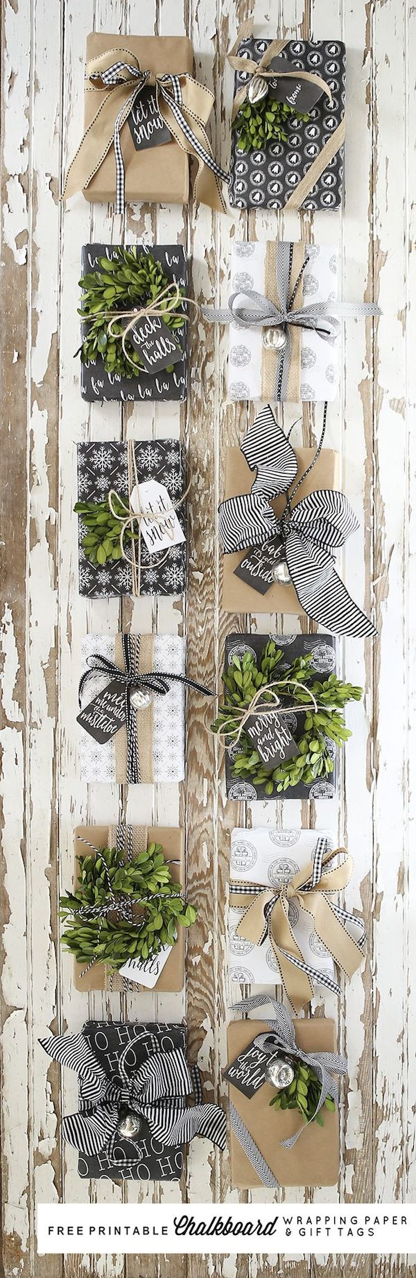 Free Printable Chalkboard Wrapping Paper and Gift Tags - Ella Claire