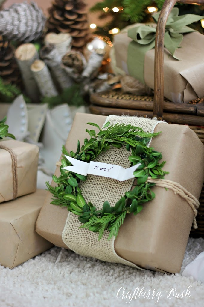 Kraft Paper Burlap and Boxwood Wreath Gift Wrap - Craftberry Bush