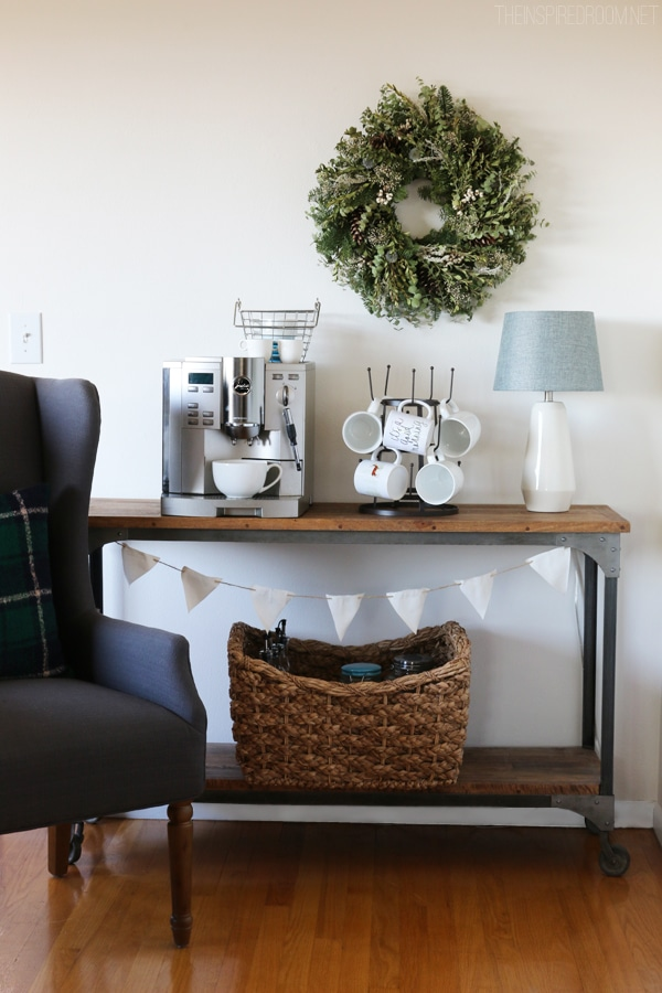 "To create a Cozy Sips Station (+ Mug Roundup) ""class ="" wp-image-90057 ""srcset ="" https://theinspiredroom.net/wp-content/uploads/2015/12/The-Inspired-Room-Coffee -Station.jpg 600w, https://theinspiredroom.net/wp-content/uploads/2015/12/The-Inspired-Room-Coffee-Station-200x300.jpg 200w, https://theinspiredroom.net/wp-content /uploads/2015/12/The-Inspired-Room-Coffee-Station-400x600.jpg 400w ""sizes ="" (maximum width: 600px) 100vw, 600px ""data-jpibfi-post-excerpt ="" ""data-jpibfi- post -url = ""https://theinspiredroom.net/2019/09/12/how-to-create-a-cozy-sips-station-mug-roundup/"" data-jpibfi-post-title = ""How to create one Cozy Sips Station (+ Mug Roundup) ""data-jpibfi-src ="" https://theinspiredroom.net/wp-content/uploads/2015/12/The-Inspired-Room-Coffee-Station.jpg ""/></figure> <p>This coffee station was set up in our dining room when we moved in! </p> <p>Sometimes you need to find a small cart or table in a smaller kitchen or entertaining guests to set up your station (or an extra one!) In a nearby room. If you move the station out of your kitchen for the holidays, you can create more space!</p> <p>It's also fun to style your station differently for the seasons. Make it especially cozy in autumn and winter!</p> <p><em>Visit the coffee station in my old house at any time of the year </em><em>Here</em><em>,</em></p> <div class="