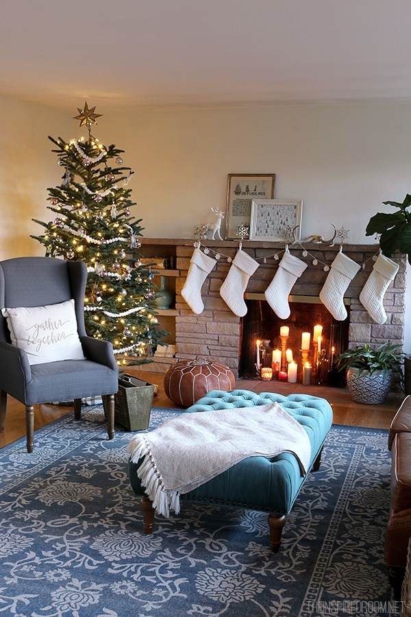 The Inspired Room - Fireplace and Christmas Tree