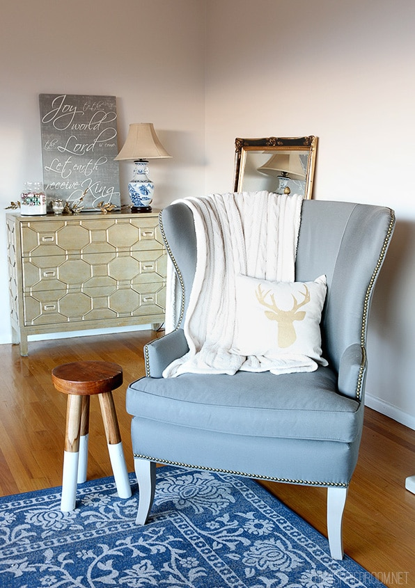 The Inspired Room - Gold Dresser and Gray Wingback