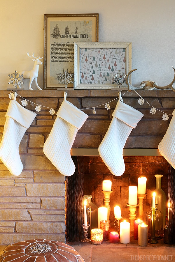 The Inspired Room - White Stockings and Candles in Fireplace