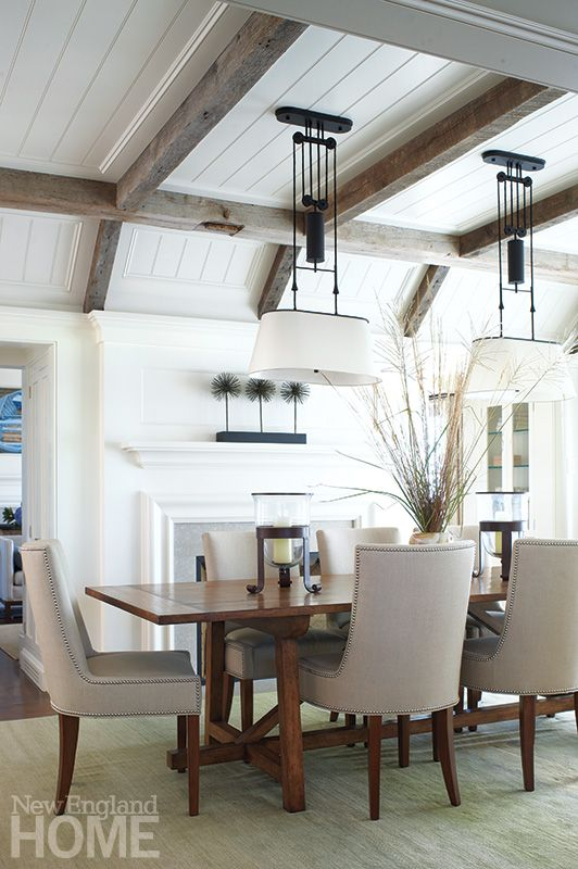 Coffered Ceiling - Gray Rustic Wood Beams - Dining Room with Fireplace