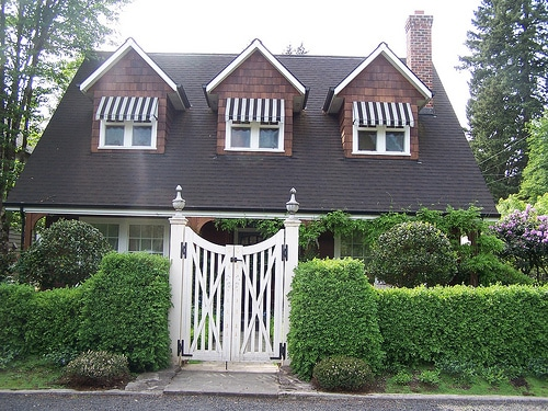 Curb Appeal - White Gate and Hedges - Black and White Awnings