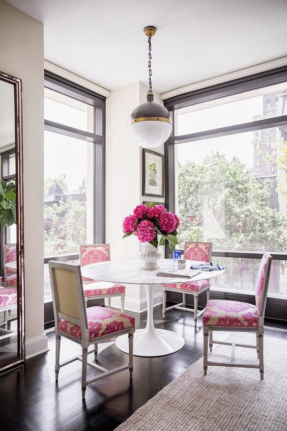 DIning Room with Pink Accents - Nick Olsen