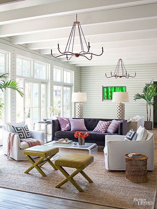 Inspired by wood beam plank ceiling design the for Living room 2 seating areas