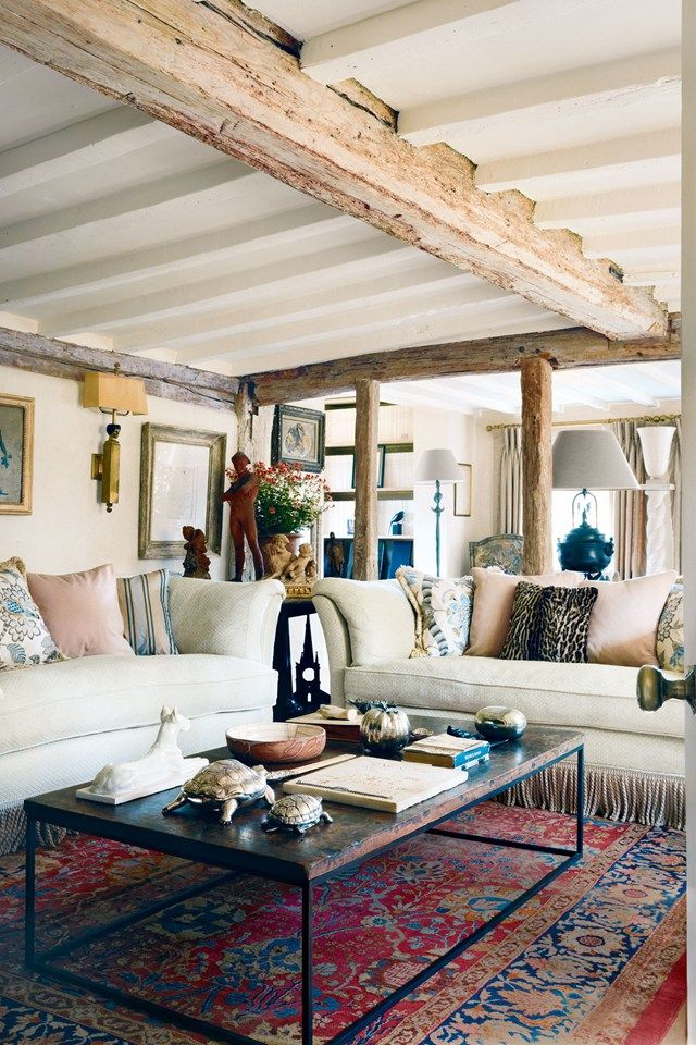 Exposed Wood Beams - Living Room Ceiling