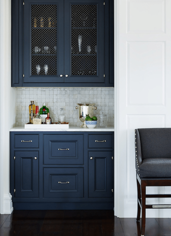 Navy Blue Dining Cabinet - Andrew Howard Interior Design