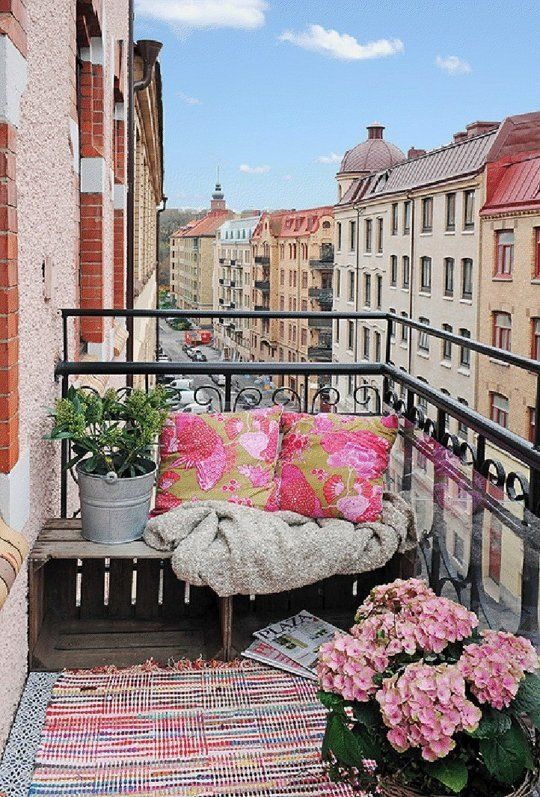 Small Apartment Balcony - Bench with Pink Patterned Pillows