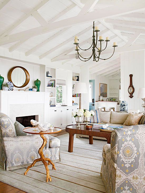 Inspired by wood beam plank ceiling design the for How to paint a vaulted ceiling room