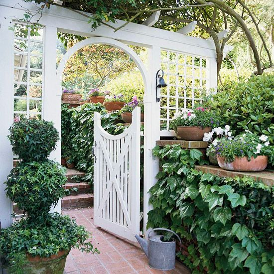 White Gate with Arbor - Brick Patio