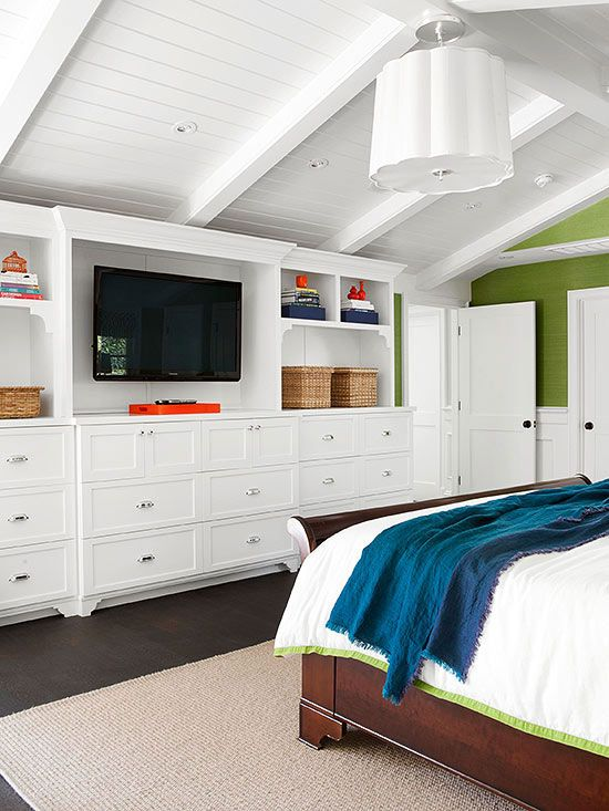 White Paneled Vaulted Ceilings - Bedroom