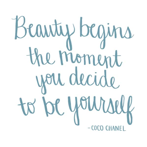 Beauty Begins the Moment You Decide To Be Yourself - Coco Chanel - Hand Drawn Quote by The Inspired Room