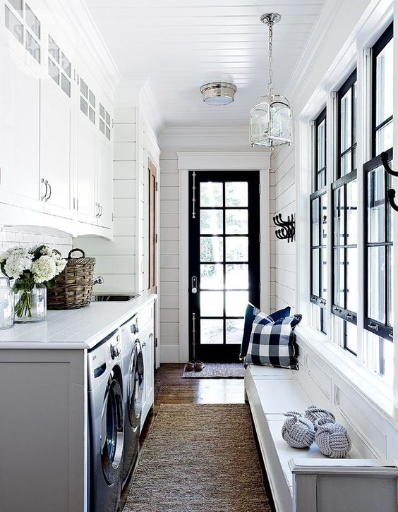 Black and White Laundry Room Mudroom Combination