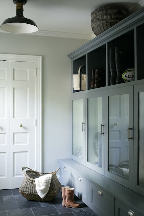 Gray Black and White Mudroom - Heather Garrett Interior Design
