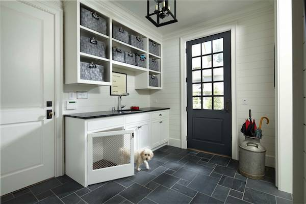 Mudroom with back door and sink - gray slate floors - Murphy and Co