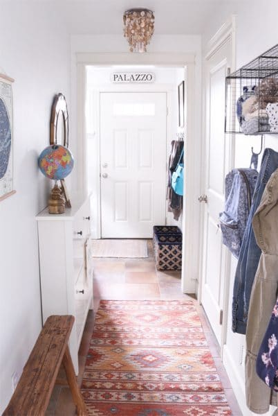 Narrow entry hallway with Dash and Albert rug