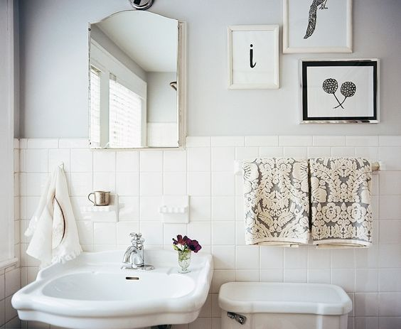 Pretty Bathroom - Pale Blue White and Black - Lonny