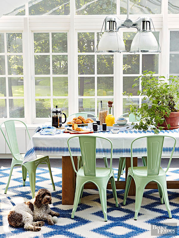 Pretty Spring Sunroom Dining Room - Mint Tolix Chairs