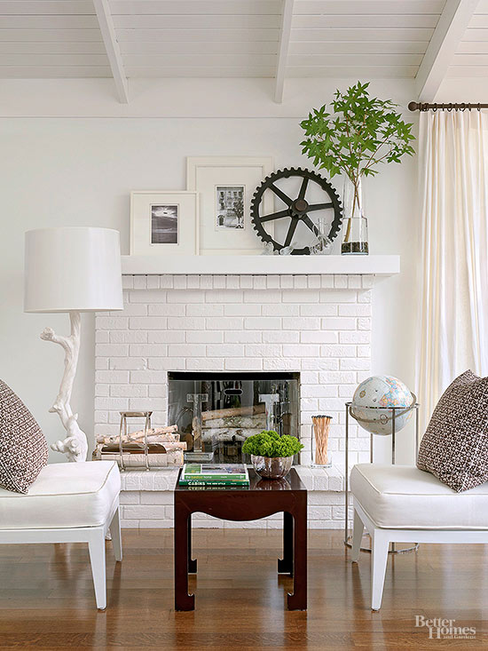 Painted Brick Amp Stone Fireplace Inspiration The Inspired