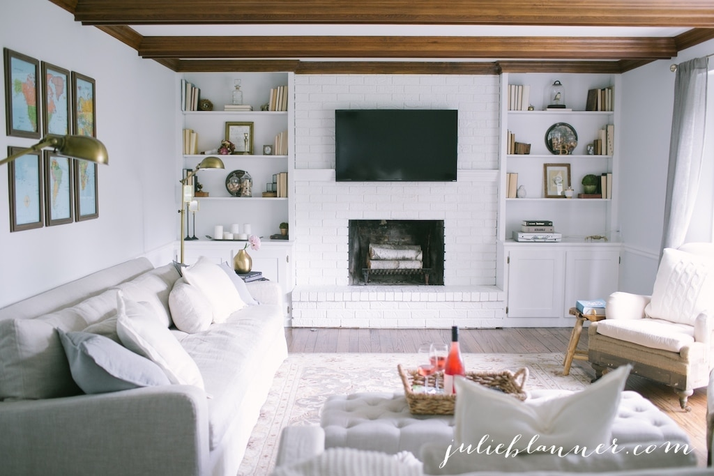 Painted Brick & Stone Fireplace Inspiration - The Inspired Room