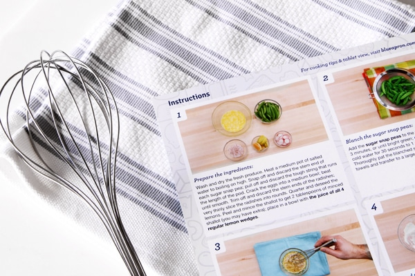 Blue Apron Recipe Instructions Card