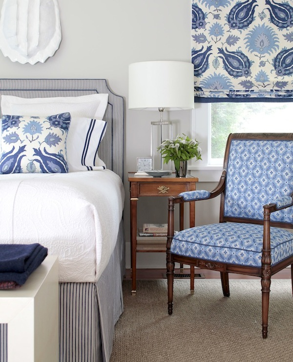 Classic Blue and White Bedroom - Brunschwig and Fils Kashmiri Linen Fabric