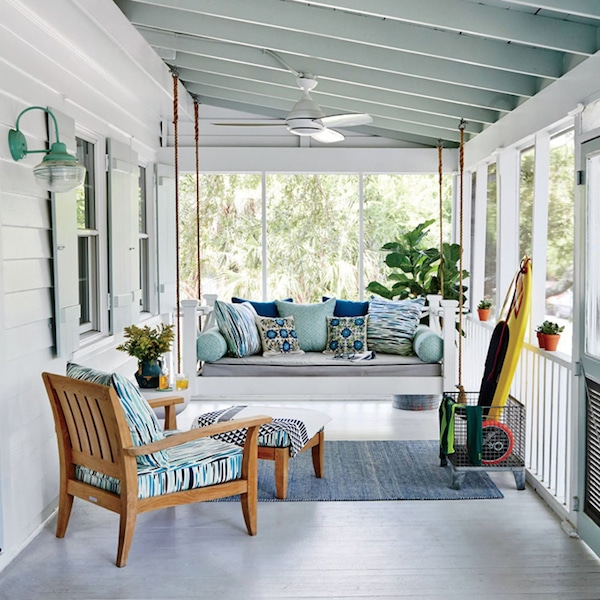 Outdoor Daybed Porch Swing - Design by Cortney Bishop - Coastal Living