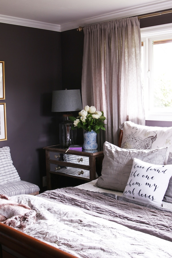 Master bedroom sneak peek black frosted plum walls for Affordable furniture 43rd