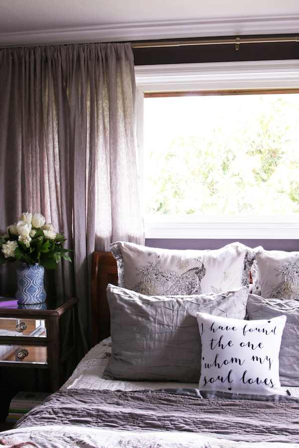 Master Bedroom Sneak Peek! {Black Frosted Plum Walls}