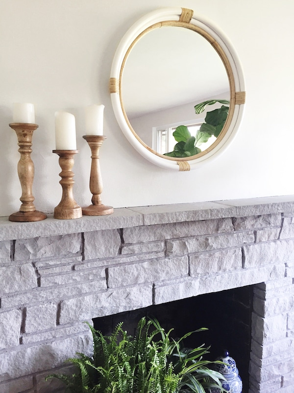 Painted stone fireplace makeover for