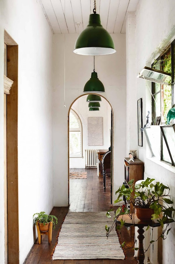 Arched Doorway - Green Industrial Lights - Saskia Folk House