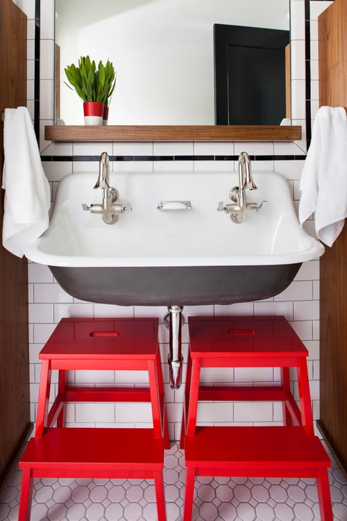 Double Trough Sink - Subway Tile White Bathroom with Red Stools