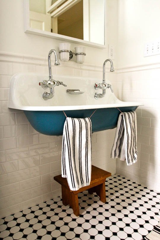 farm sink bathroom trough sinks colored powder coating the inspired room 12818