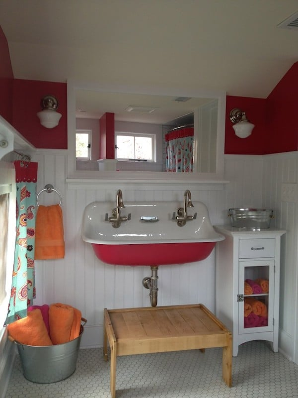 Red Trough Sink - Red and White Bathroom - Simply Natural Mom