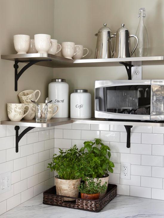Space Saving Kitchen Idea Corner shelves - BHG