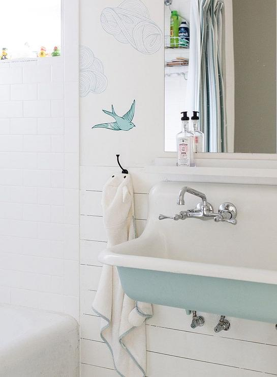 Light Blue Kohler Brockway Trough Sink - Bird Wallpaper and Shiplap Walls