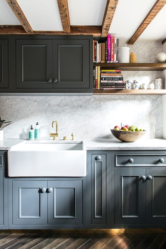 Black and Gray Kitchen with Farmhouse Sink. Click through to find a round up of more kitchen design ideas and sources for farmhouse sinks!