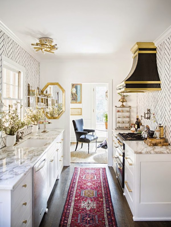 Covered Range Hood - Black and Gold - Small Galley Kitchen
