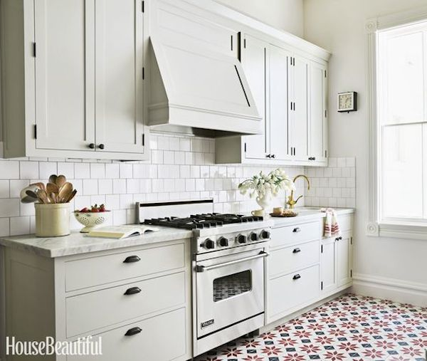Covered Range Hood - Kitchen with Patterned Floors