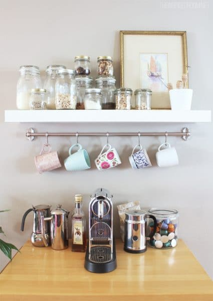 DIY Mug Rack Coffee Station