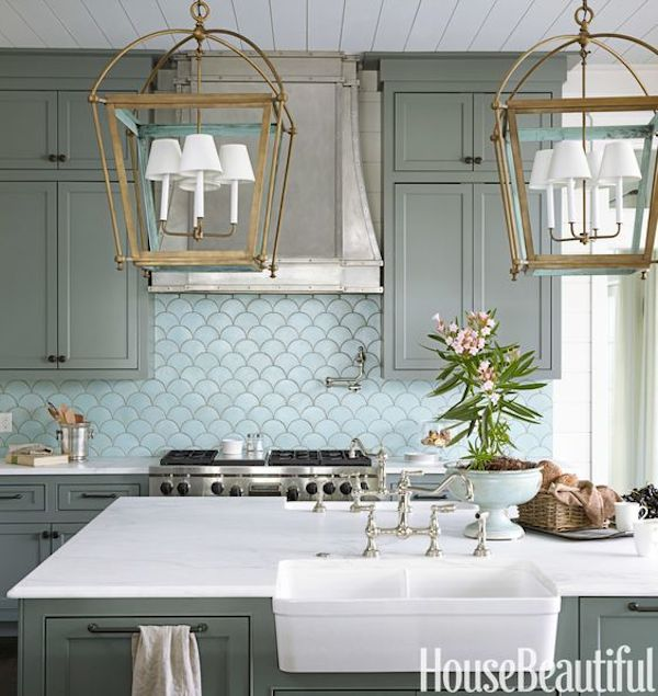 Colored kitchen cabinets inspiration the inspired room for Grey and green kitchen