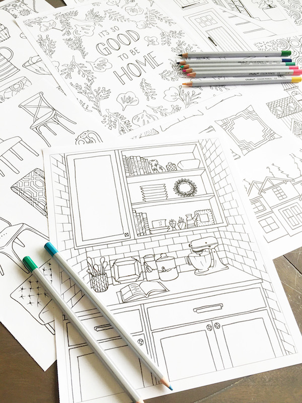 Home Decorating Adult Coloring Book by The Inspired Room