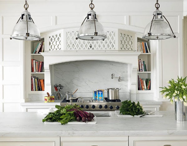 Lattice Design Covered Range Hood - Allison Caccoma via House Beautiful