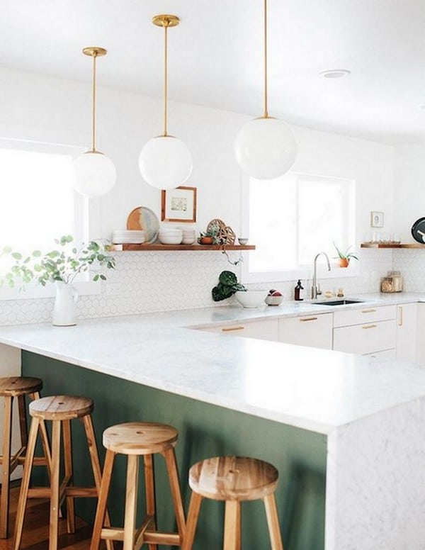 Light Green White and Wood Kitchen - Green Gray Cabinets - Click through for 8 showstopping elements for a kitchen design!