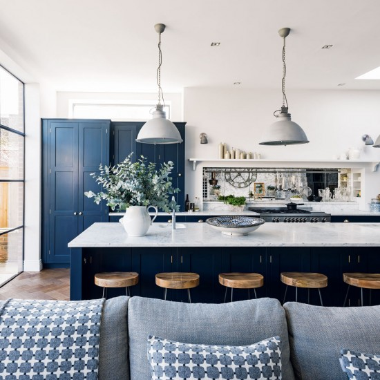 Colored kitchen cabinets inspiration the inspired room for Navy blue kitchen cabinets