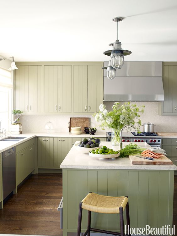 Colored kitchen cabinets inspiration the inspired room for Grey green kitchen cabinets