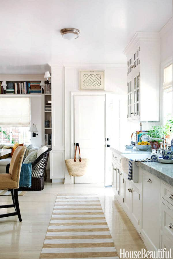 Striped Runner in the Kitchen - Mark D Sikes House - Click through for 8 showstopping elements for a kitchen design!